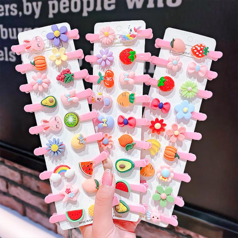 糖果色树脂儿童发夹可爱蝴蝶结水果发卡女童宝宝刘海夹边夹头饰品
