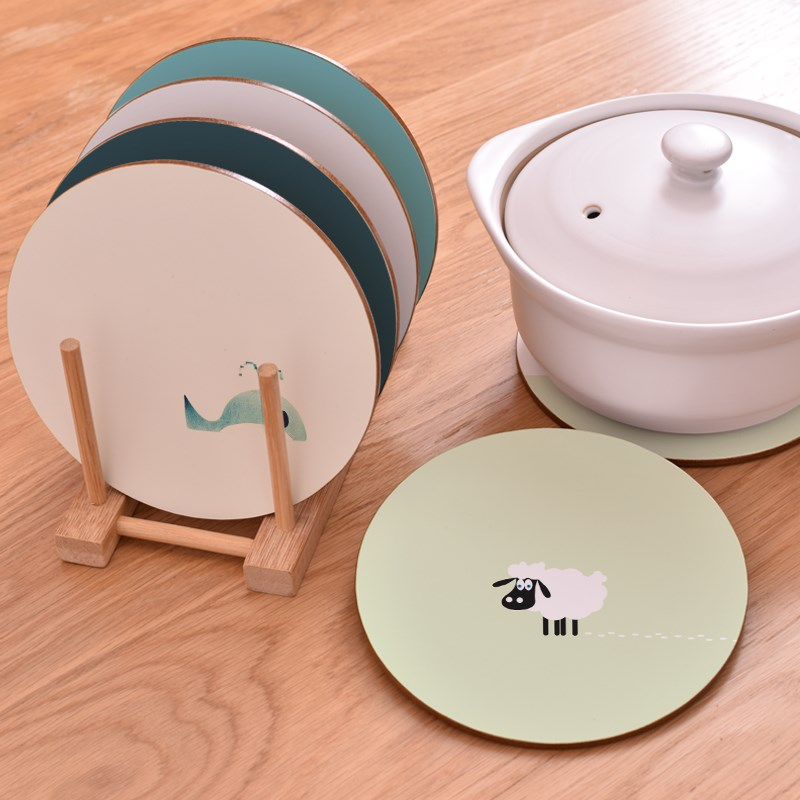 ZR冲冠限量 个装 家用防滑木质隔热垫北欧防烫餐桌垫盘子垫杯垫Z