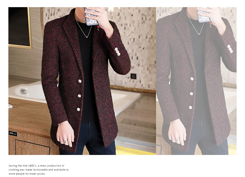 Autumn and winter windshield men's long hair coat Korean version of the trend handsome British wind coat men thickened 55 Online shopping Bangladesh