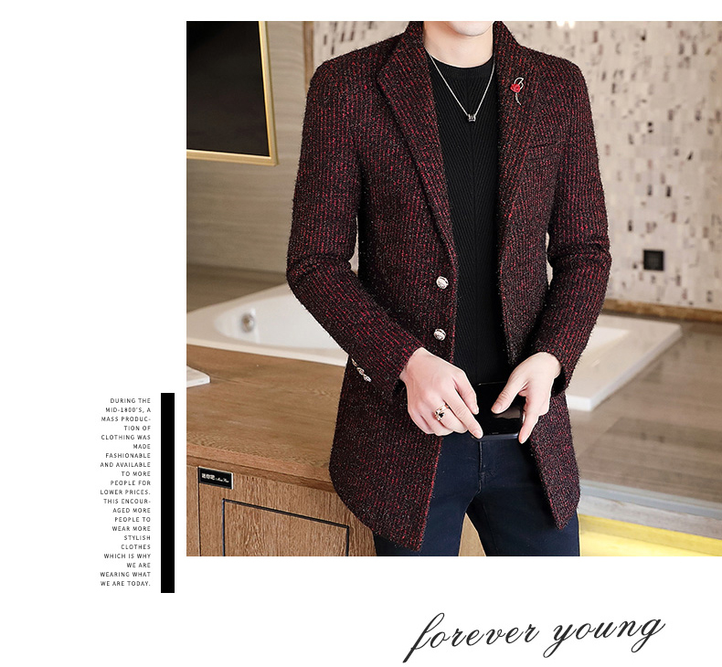 Autumn and winter windshield men's long hair coat Korean version of the trend handsome British wind coat men thickened 54 Online shopping Bangladesh