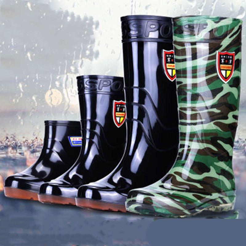 军津牛筋底防水雨鞋男高筒水鞋男工地胶鞋雨靴短水靴厨房鞋男防滑