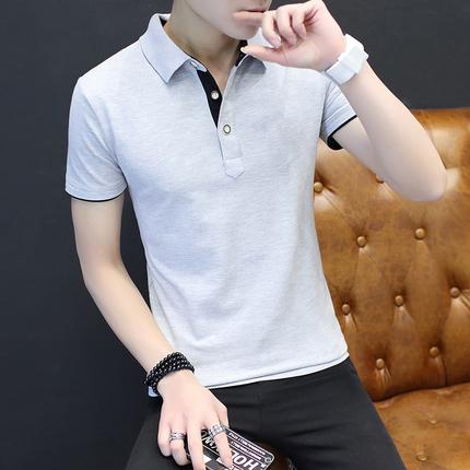 男士短袖T恤夏季新款韩版潮流保罗polo衫修身半袖体恤潮牌上衣服