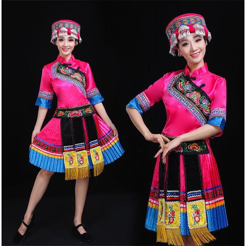Tujia Yao, Yi, Zhuang và Dân tộc thiểu số biểu diễn điệu múa Miao Quần áo Phụ nữ Vân Nam Quý Châu - Quần áo ngoài trời