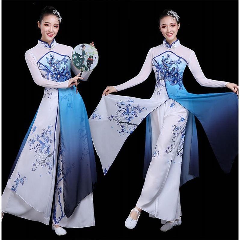 Quần áo biểu diễn múa cổ điển nữ thanh lịch quạt quần áo màu xanh và trắng sứ phong cách Trung Quốc quần áo múa dân gian Giang Nam biểu diễn quần áo - Quần áo ngoài trời