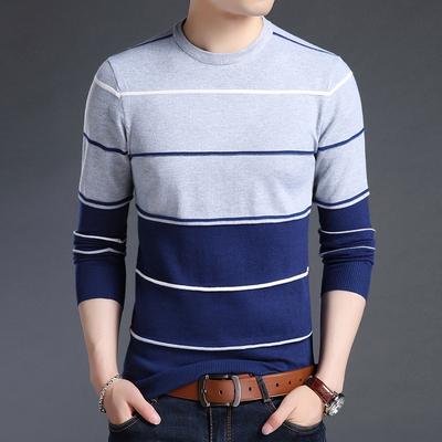 梵客隆秋冬青年条纹圆领长袖T恤男士韩版修身毛衣打底针织衫男装