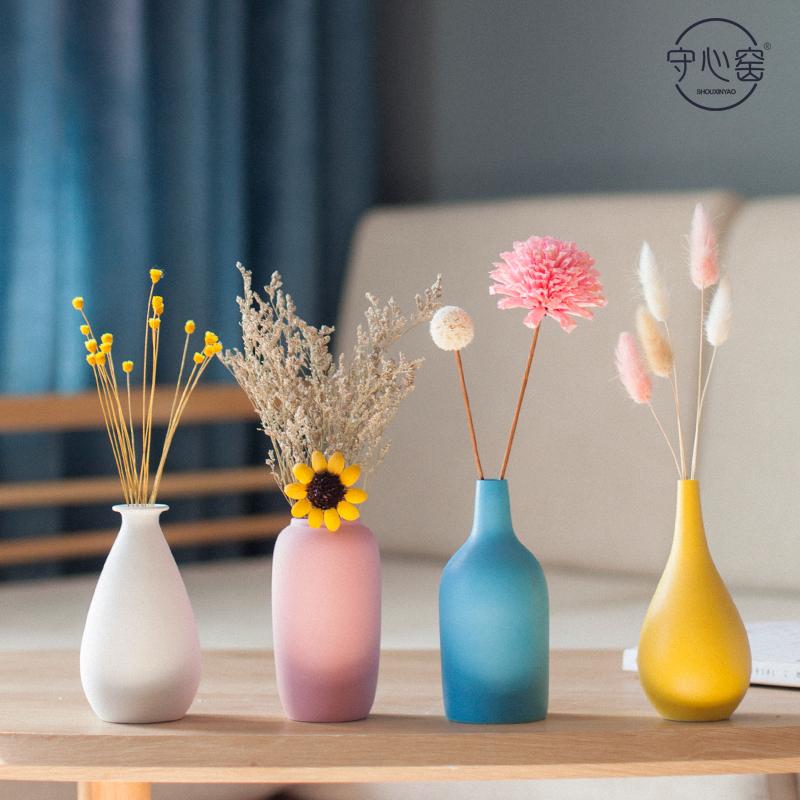 小干花餐桌客厅装饰品花瓶v干花陶瓷电视柜北欧风创意摆件家居摆设