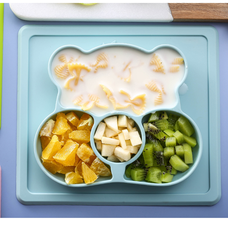 儿童吃饭餐盘分隔分格三格卡通可爱家用防摔吸盘式抖音同款硅胶