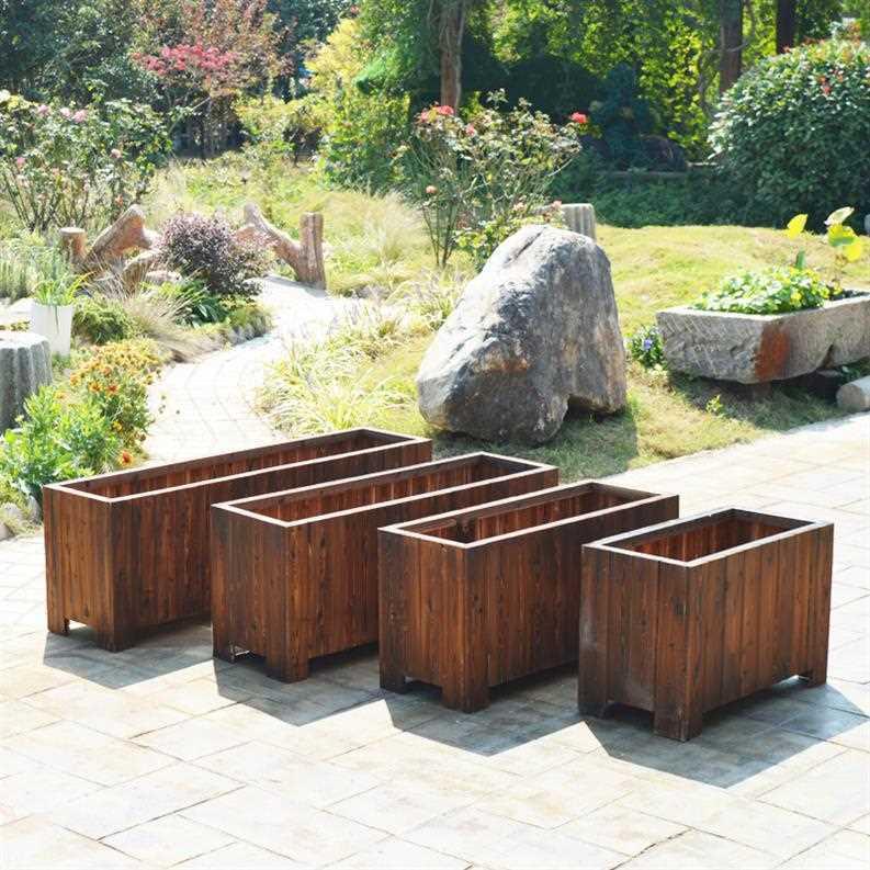 碳化v阳台木花箱长方形户外阳台花盆花槽园艺实木花池特大种菜盆