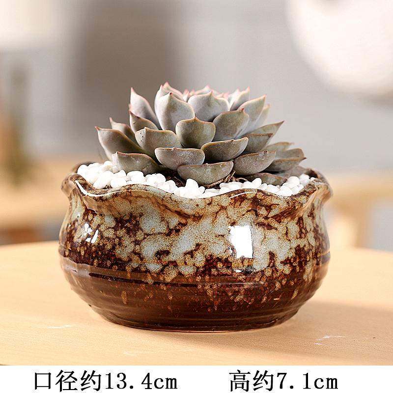 End fleshy flower POTS, large diameter ceramic platter composite basin simple indoor coarse pottery new large meat meat