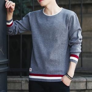 长袖t恤男士秋冬季休闲针织上衣潮流加绒线衣服男装春秋装打底衫