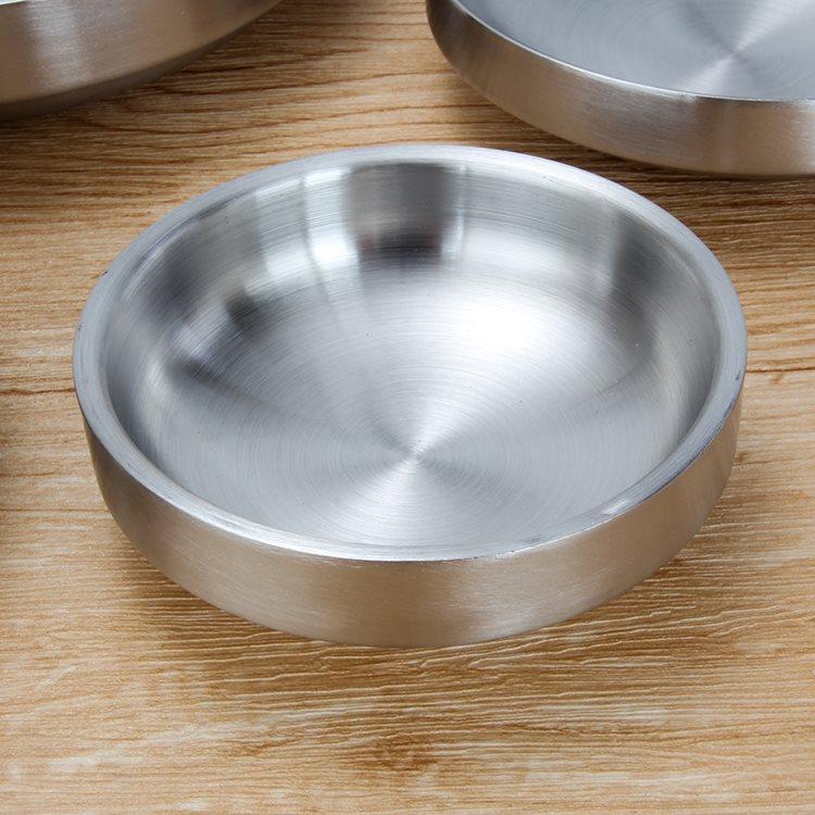 韩式不锈钢餐碟烤肉小碟子加厚泡菜碟蘸料碟凉开胃菜碟餐具双层