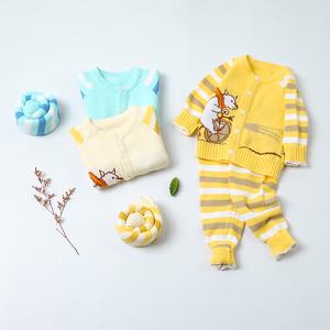 趴趴熊嬰兒毛衣套裝寶寶針織衫開衫加厚寶寶毛衣秋冬外穿洋氣厚款