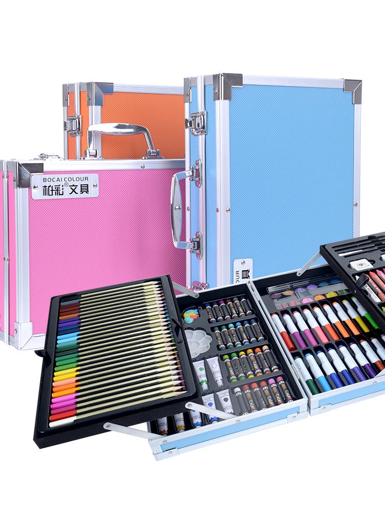 【薇娅推荐】98件套可水洗水彩笔套装幼儿园彩色笔儿童画笔美术小学生用品24色水彩笔36蜡笔绘画套装画画笔