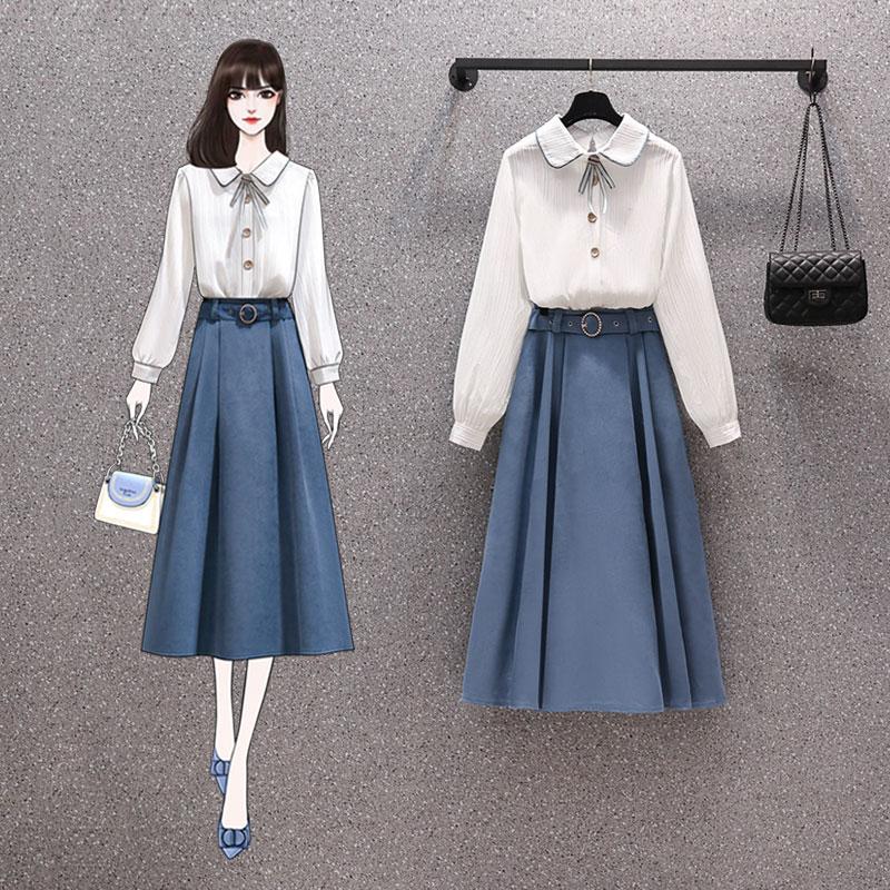 2021新款春季打底裙洋气显瘦遮肚假两件减龄甜美连衣裙百搭套装裙