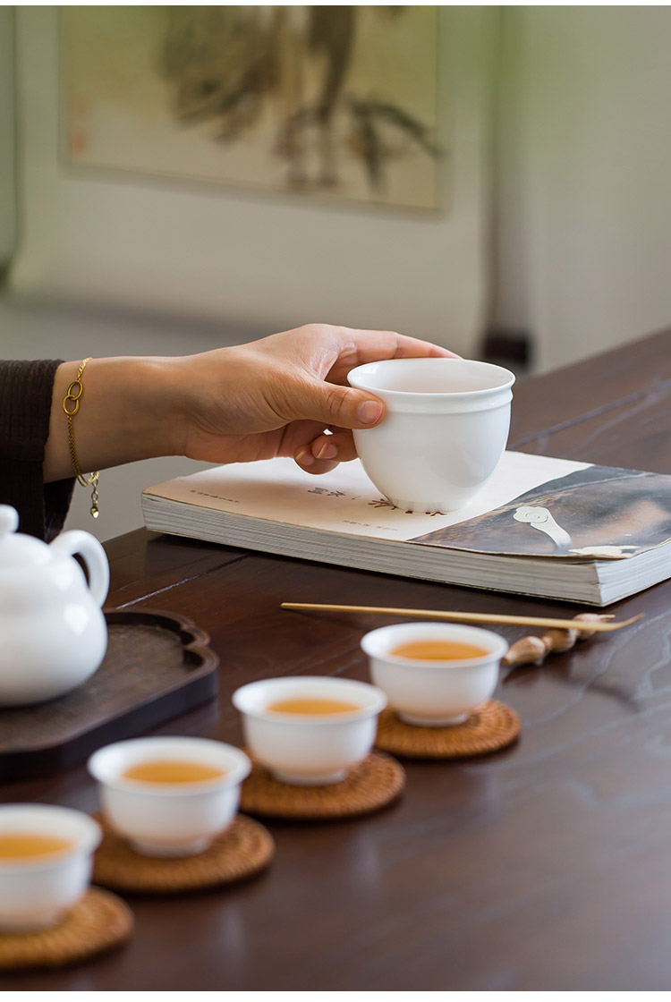 Jingdezhen up the fire which white porcelain ceramic one large single sample tea cup only kongfu master cup of tea