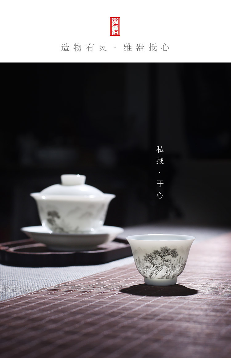 Jingdezhen up the fire which high - grade checking ceramic cups master cup hand - made kung fu tea set sample tea cup single CPU