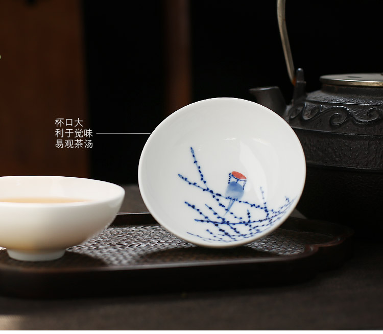 Blue and white single cup white porcelain jingdezhen up the fire which hand - made kung fu tea cup big pu 'er ceramic sample tea cup