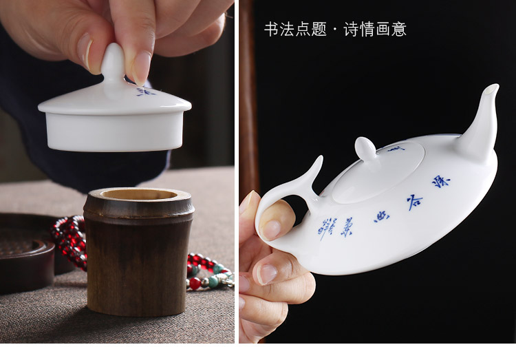 Jingdezhen up the fire which white porcelain hand - made ceramic teapot household single pot of blue and white porcelain kung fu tea tea