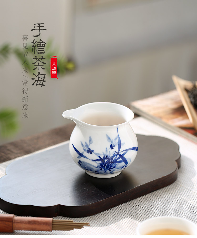 Jingdezhen up the fire which ceramic hand - made household utensils accessories fair keller of blue and white porcelain tea sea points