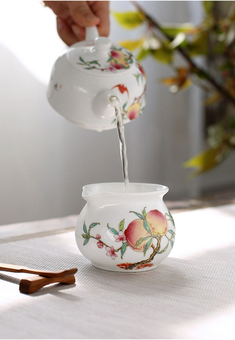 The porcelain up fire hand - made pastel peach justice cup and a cup of tea sea jingdezhen ceramic tea ware domestic individual