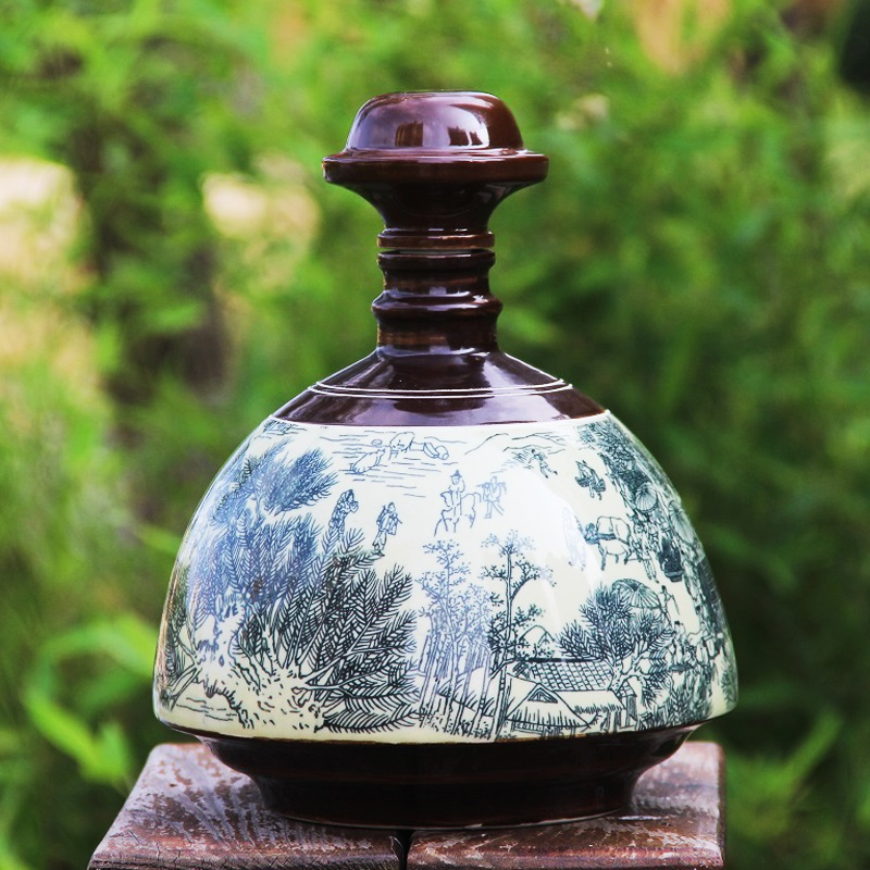 景德镇陶瓷仿古酒瓶 高温颜色釉5斤装清明上河图酒瓶五斤装空酒坛