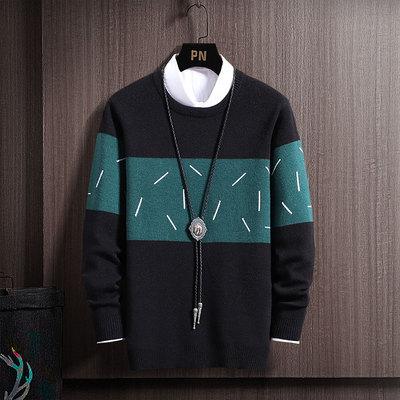毛衣男针织衫套头宽松圆领男士毛线衣冬季秋装打底衫线衣加厚