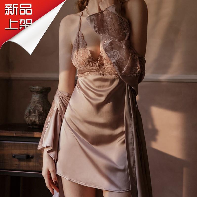 性感睡衣女夏季薄款冰丝绸露背吊带睡裙蕾丝镂空外披睡衣