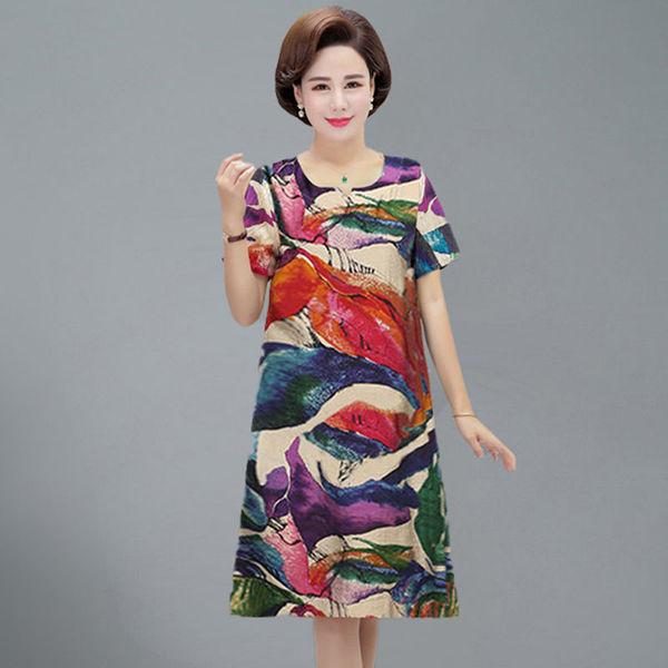 连衣裙子2020新款中老年妈妈装女夏季装