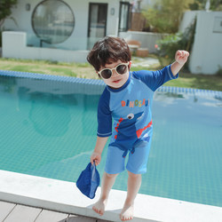 Korean ins trendy children's swimwear boys baby dinosaur swimsuits Siamese children boys baby sunscreen surfing suits