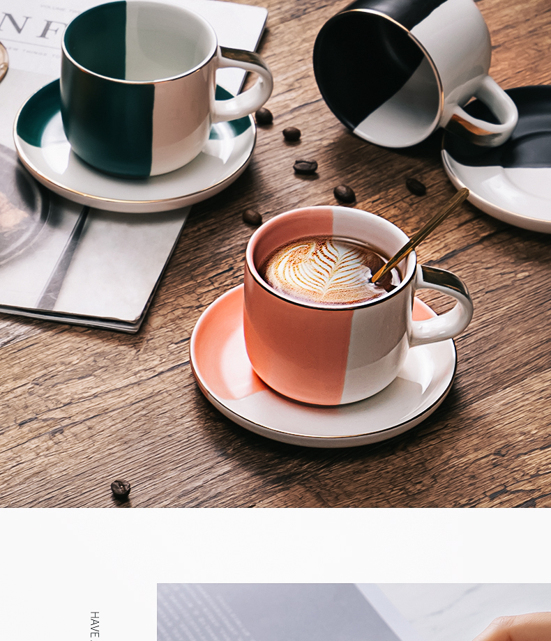 Bincoo coffee cup set ideas into office household light color ceramic cup key-2 luxury cups and saucers European cup mark