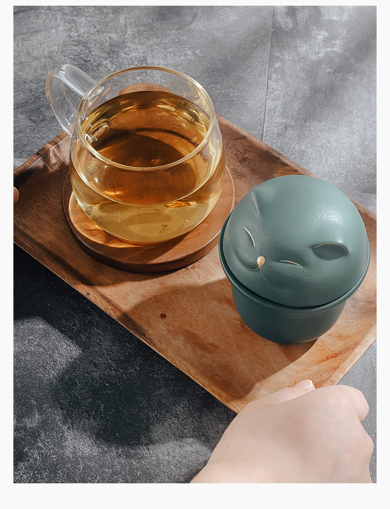 Separation Bincoo plutus cat tea tea cup personal special creative ceramic cup with cover with filtered water glass