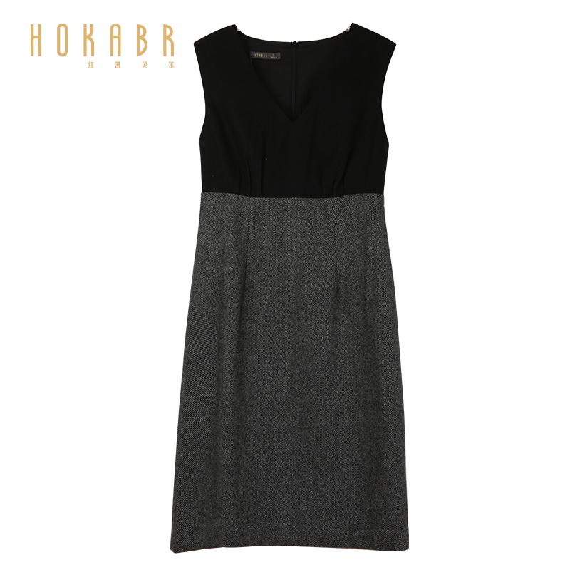 HOKABR/红凯贝尔2019圆领新款韩版女装冬装无袖连衣裙中长背心裙