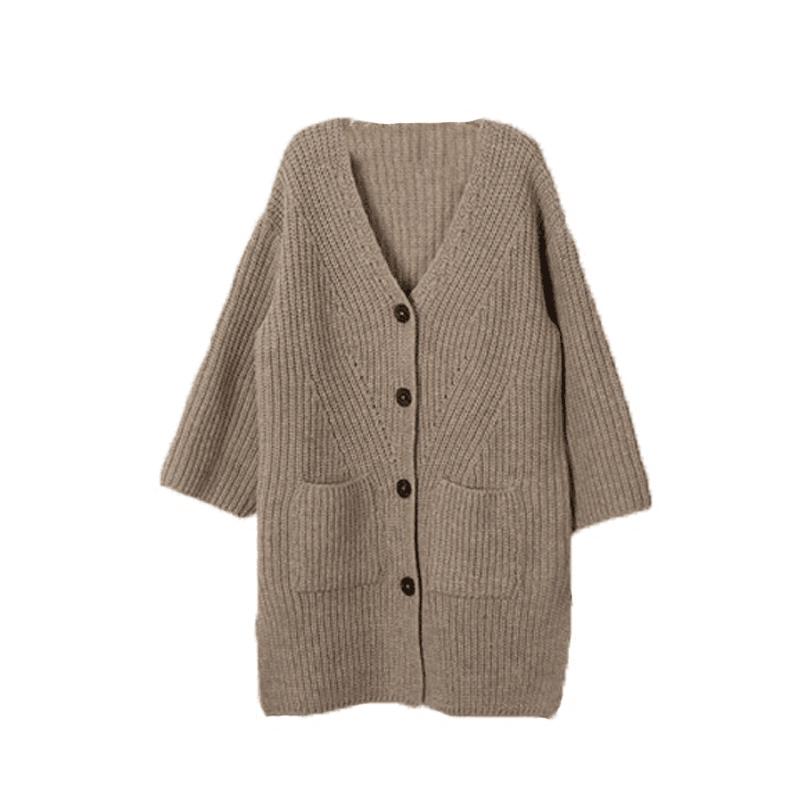 中大童时髦女装韩版潮女童春秋款毛衣外套中长款针织粗线开衫洋气
