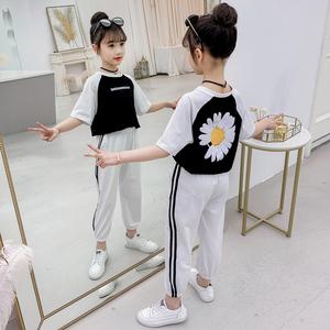 女童半袖休闲裤套装短袖洋气T恤九分裤童装