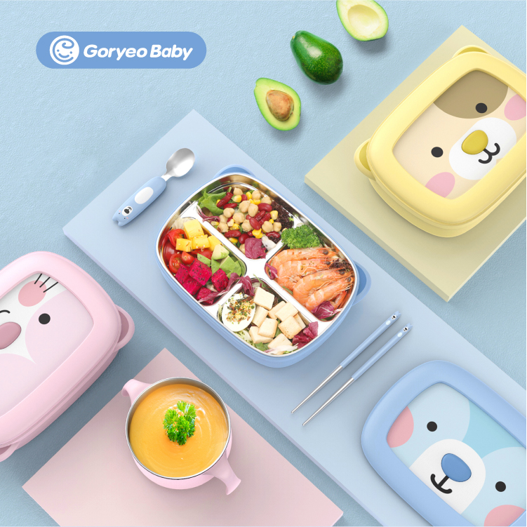 Pupils insulated lunchbox and lovely young girl heart portioned lunch box steel plate tableware suit children