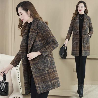 加棉/不加棉中年呢子大衣中长款女装韩版妈妈秋冬装格子毛呢外套