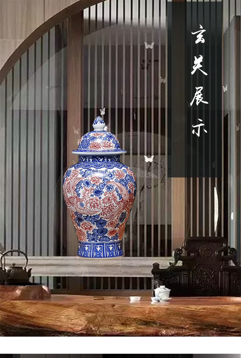 Jingdezhen ceramic retro blue and white porcelain dragon vase decoration place to live in the sitting room porch flower arranging housewarming gift