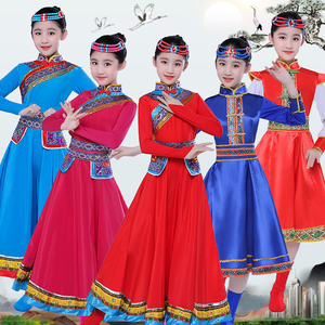 girls Mongolian dresses chinese Inner Mongolia ethnic minorities robes for children's chinese folk dance costumes