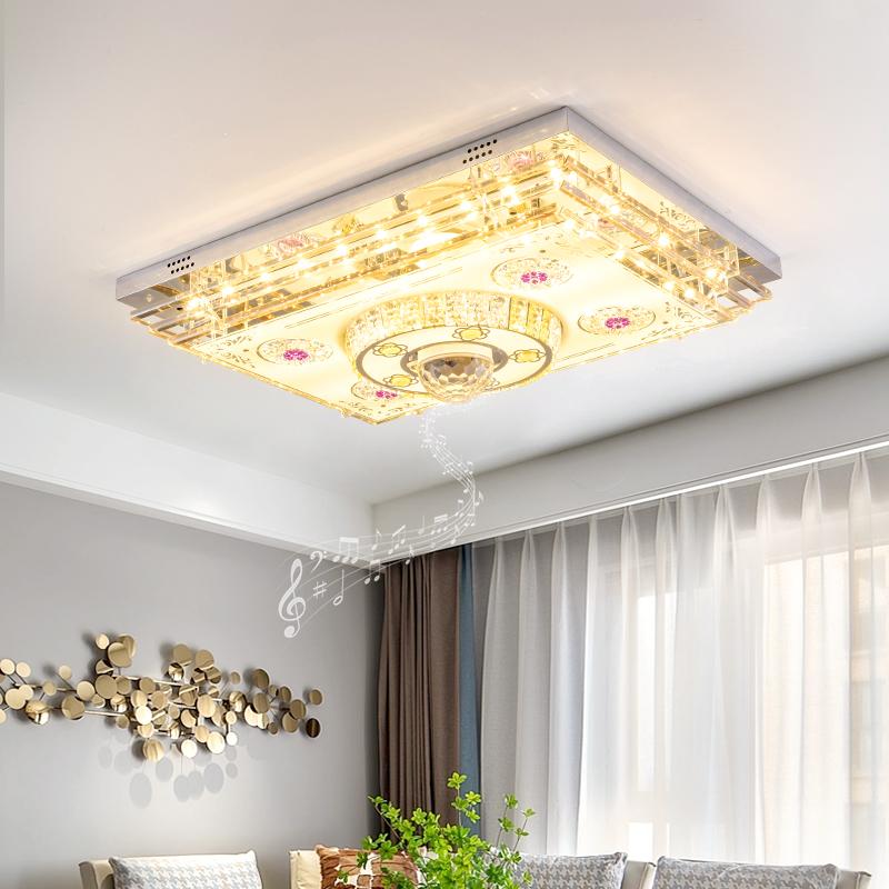 客厅灯长方形吸顶灯LED水晶灯遥控蓝牙音乐卧室灯具现代大气灯饰
