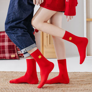 【6双装】牛年红色袜子中筒袜
