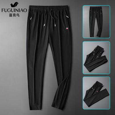 富贵鸟冰丝裤男速干运动裤夏季薄款空调丝滑弹力垂感宽松休闲长裤
