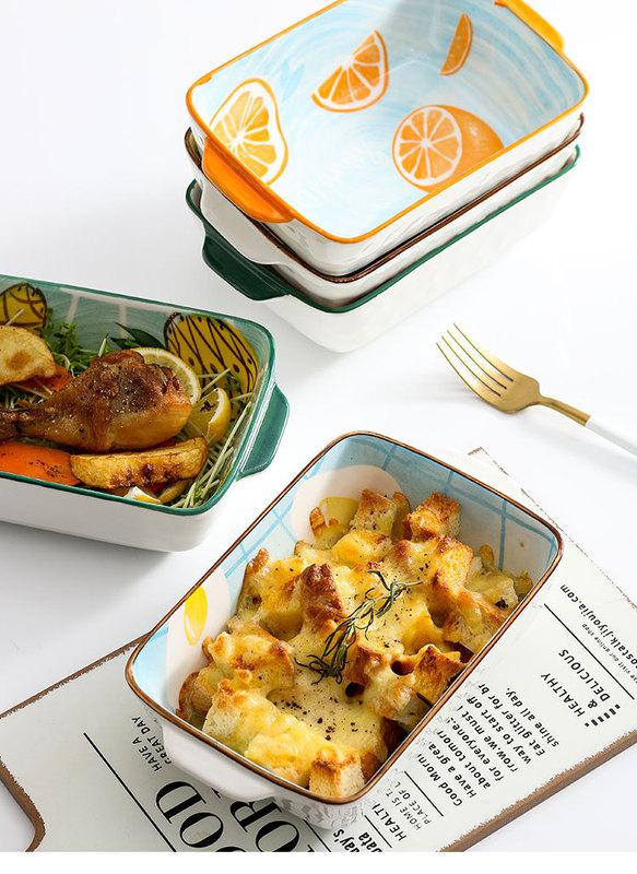 Tableware Nordic ears plate cheese baked bread and butter baked FanPan household ceramic baking oven roasted bowl baking dish