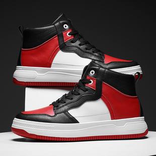 男鞋高帮空军一号板鞋黑红倒钩运动休闲鞋黑白熊猫11学生潮鞋