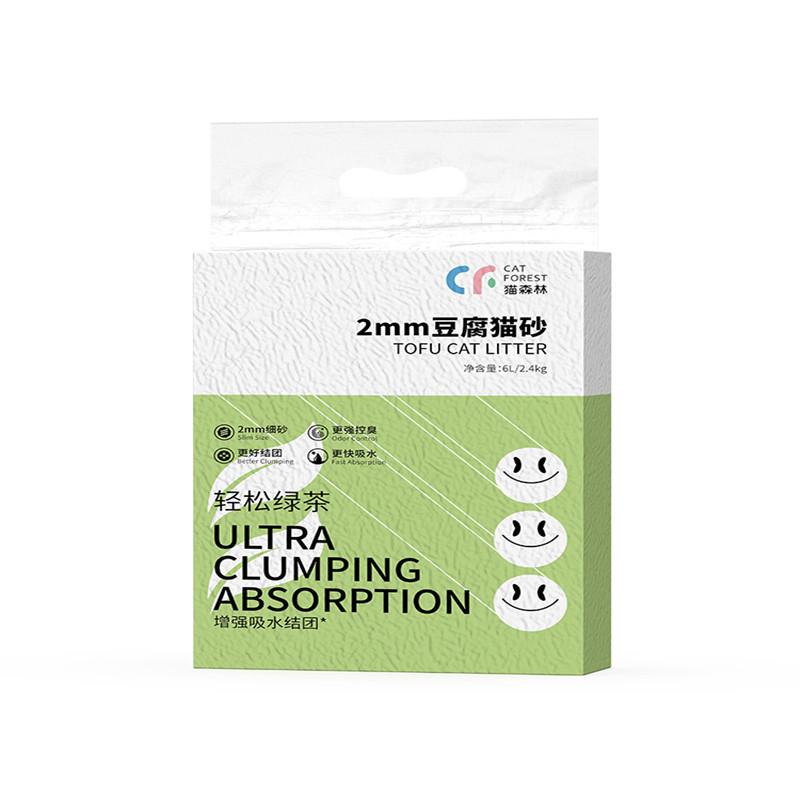 猫森林绿茶豆腐猫砂除臭猫沙6L*6包