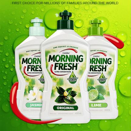 澳洲进口morning fresh洗洁精浓缩家庭装家用小瓶不伤手原味400ml