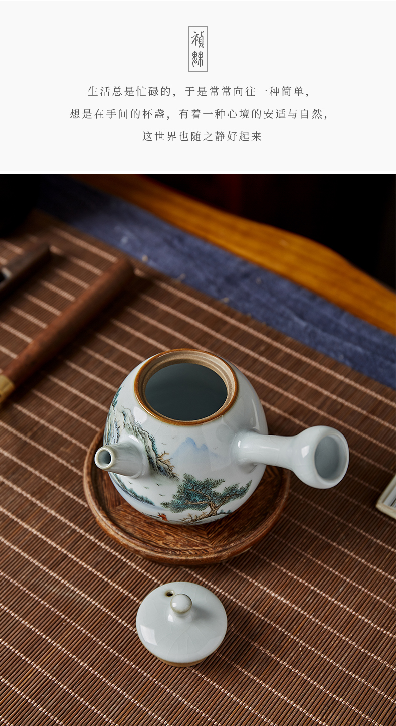 Shot incarnate your up hand - made scenery side put the pot of jingdezhen ceramic kung fu tea set household ball hole filter the teapot