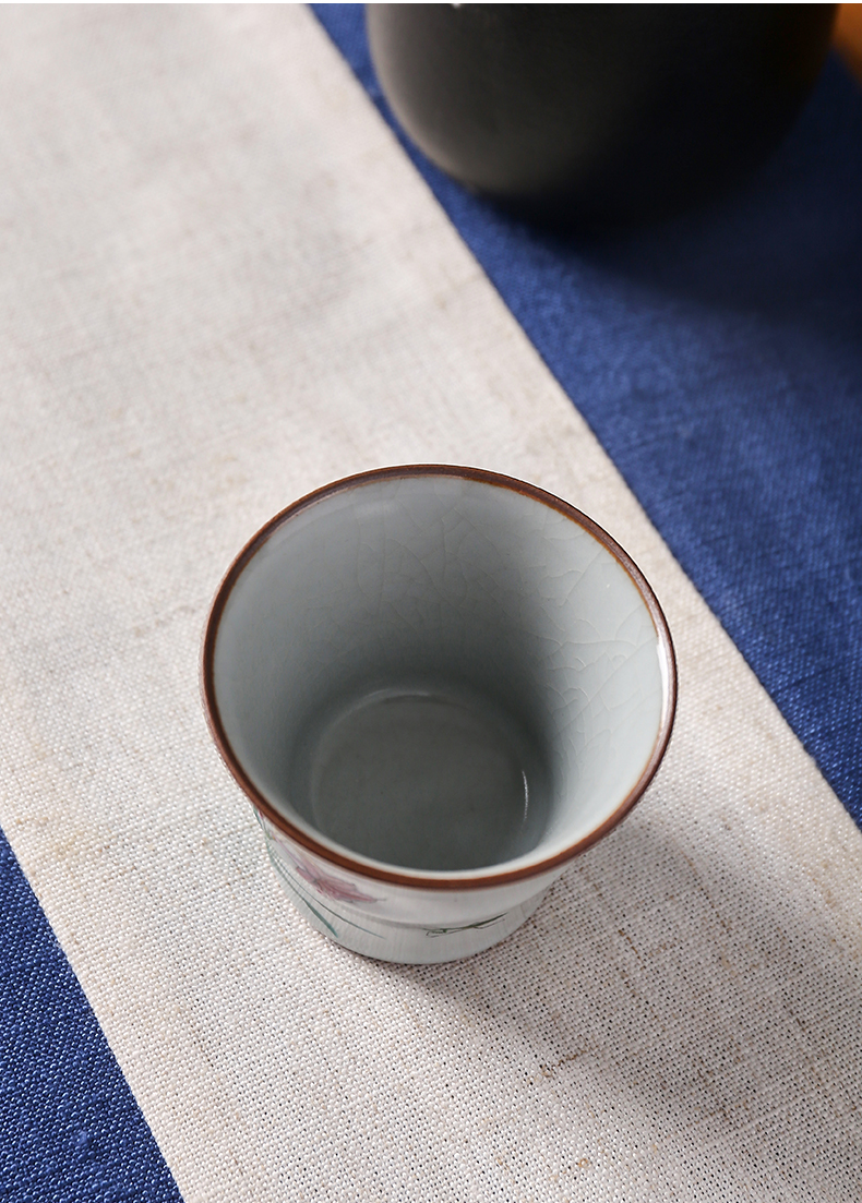 Shot incarnate your up hand - made azure bamboo kung fu tea set lily sample tea cup cup of jingdezhen ceramics master cup single CPU