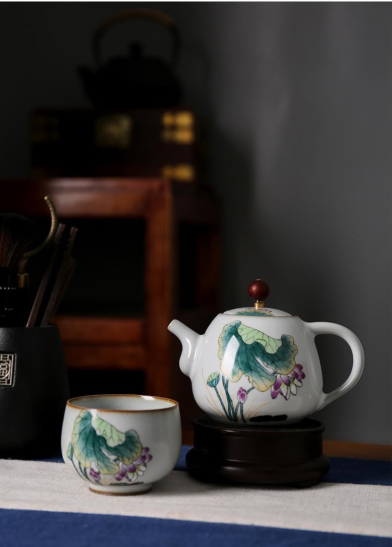 Shot incarnate the jingdezhen ceramic teapot kung fu tea set your up hand - made lotus home slicing can be a single pot teapot