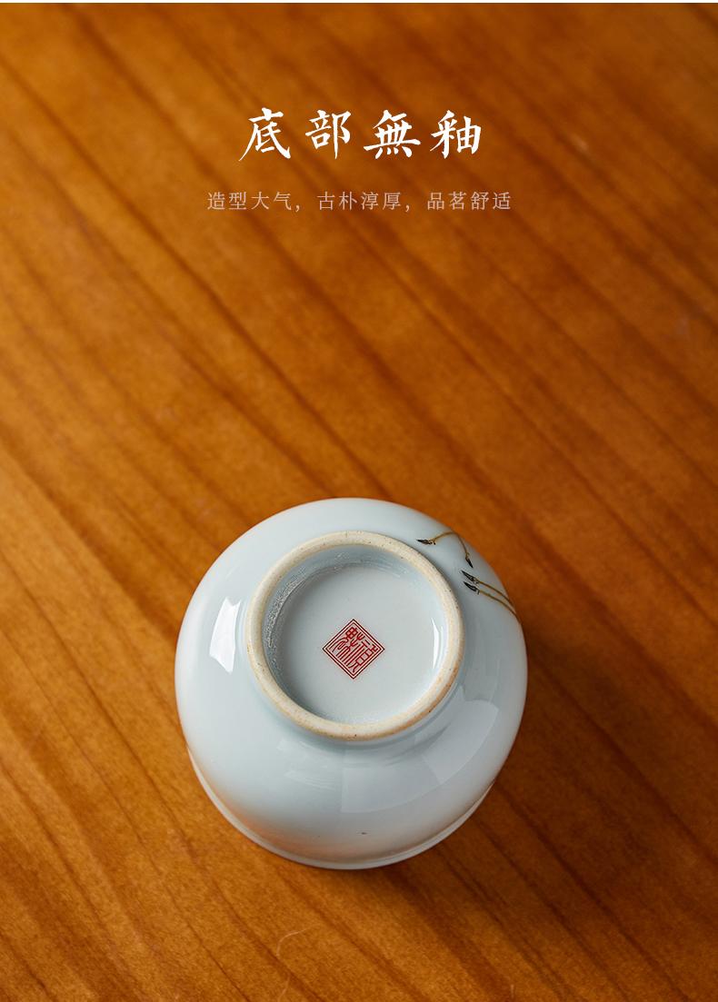 Shot incarnate the jingdezhen ceramic hand - made sika deer noggin kung fu tea set personal sample tea cup master cup single CPU
