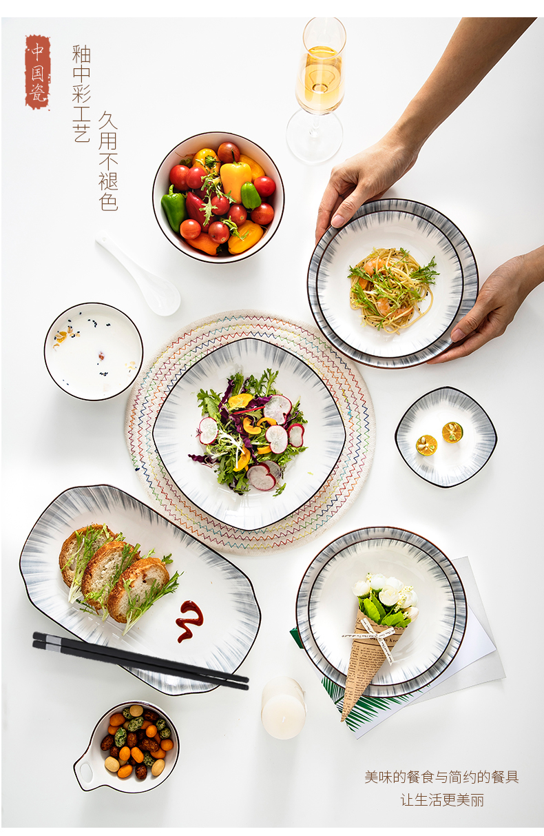 Jingdezhen ceramic dishes suit creative household tableware light key-2 luxury Nordic modern dishes contracted wind upscale combination